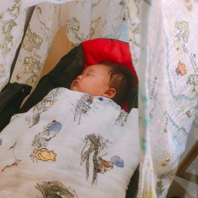 空港のベビーカーでぐっすり眠る