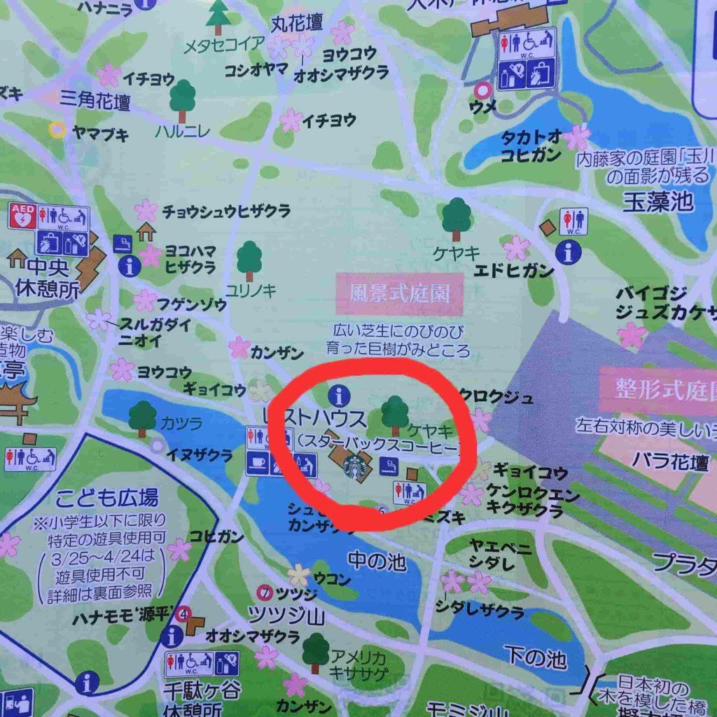 新宿御苑のスタバの地図